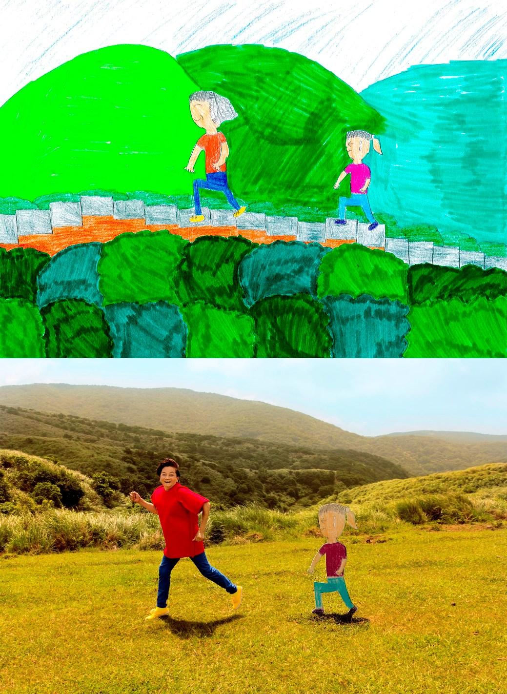 台灣小朋友畫出爺爺奶奶退休後的生活,設計師將畫作變成真實場景(請註明攝影師趙淇)